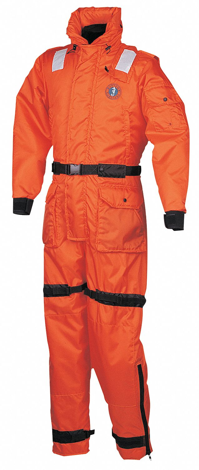 Anti-Exposure Work Suit,  XL,  Closed Cell Foam w/Neoprene Wrist Closures,  Orange