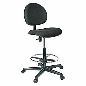 TASK CHAIR BLACK FABRIC, 24-34IN