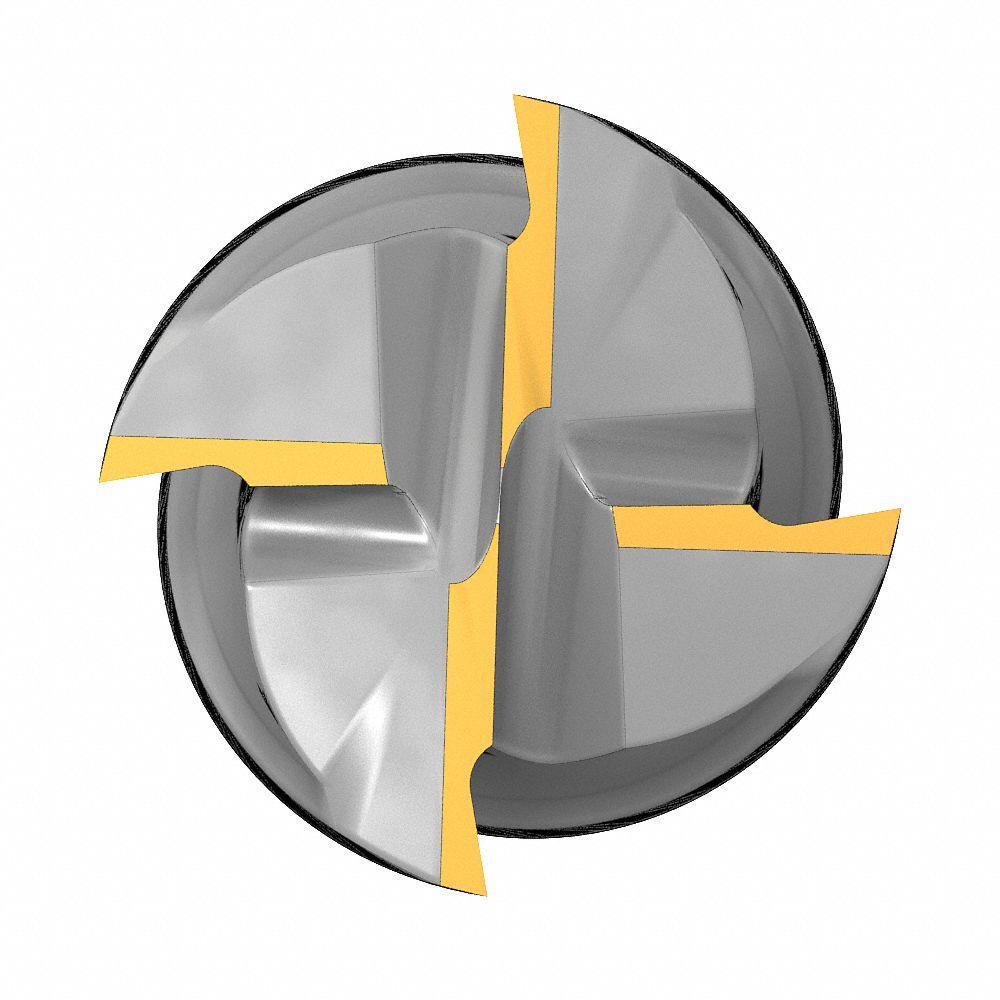 R 0.01 Diameter x 3//4 Shank x 4 LOC x 6-1//4 OAL Alu-Power H-37 3 Flute High Performance Carbide Corner Radius End Mill YG1 E5G97845 3//4