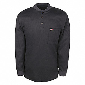 FLAME RESISTANT HENLEY,4XL,NAVY