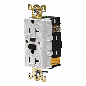 GFCI RECEPTACLE,20 A,WHITE,INDUSTRIAL