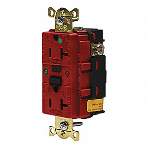 GFCI RECEPTACLE,20 A,RED,5-20R,HOSPITAL