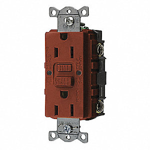 GFCI RECEPTACLE,15A,RED,5-15R,COMMERCIAL