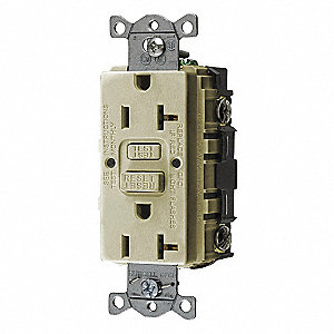 GFCI RECEPTACLE,20 A,IVORY,COMMERCIAL