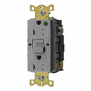 GFCI RECEPTACLE,15 A,GRAY,5-15R