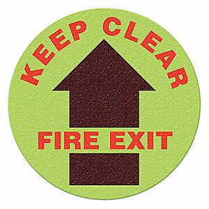 FLOOR SIGN,RED/GLOW,KEEP CLEAR FIRE EXIT