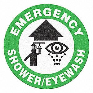 FLOOR SIGN,17 IN. DIA.,EMERGENCY SHOWER