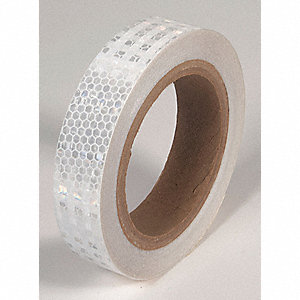 REFLECTIVE TAPE,WHT,30FT L X 1IN W,SOLID