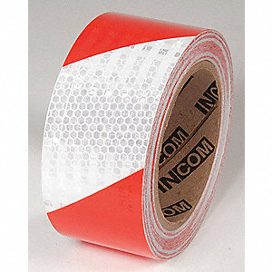 TAPE,RED/WHITE,30 FT. L X 2 IN. W