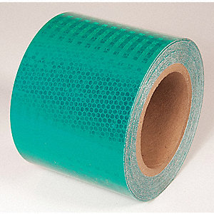 REFLECTIVE TAPE,GRN,30FT L X 4IN W,SOLID