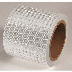 REFLECTIVE TAPE,WHT,30FT L X 4IN W,SOLID
