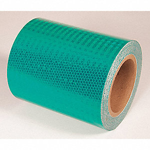 REFLECTIVE TAPE,GRN,30FT L X 6IN W,SOLID