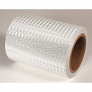 REFLECTIVE TAPE,WHT,30FT L X 6IN W,SOLID