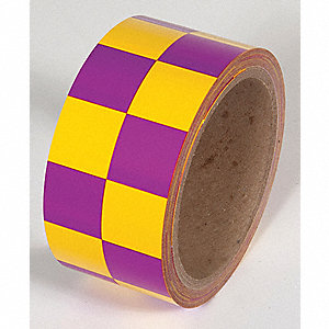TAPE,YELLOW/MAGENTA,54FT L X 2IN W,PVC
