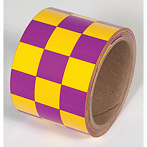 TAPE,YELLOW/MAGENTA,54FT L X 3IN W,PVC