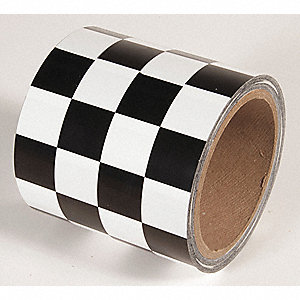 TAPE,BLACK/WHITE,54FT L X 4IN W,PVC