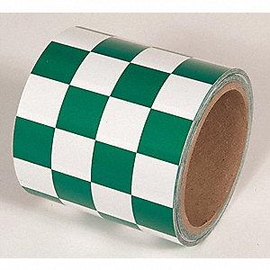 TAPE,GREEN/WHITE,54FT L X 4IN W,PVC