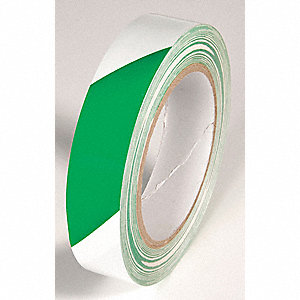 FLOOR TAPE,GREEN/WHITE,108FT L X 1 IN W