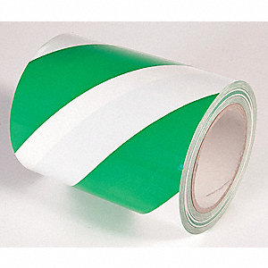 FLOOR TAPE,GREEN/WHITE,108FT L X 6 IN W