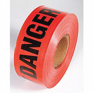 BARRICADE TAPE,RED,500 FT. L,DANGER