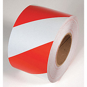 TAPE,RED/WHITE,30FT L X 3IN W,STRIPED