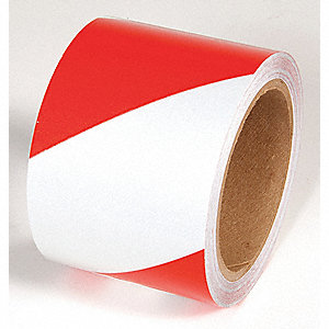 TAPE,RED/WHITE,30FT L X 6IN W,STRIPED