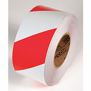 TAPE,RED/WHITE,150FT L X 3IN W,STRIPED