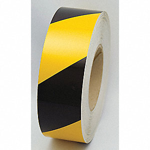 TAPE,YELLOW/BLK,150FT L X 2IN W,STRIPED