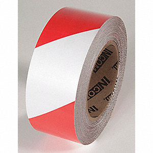 FLOOR TAPE,RED/WHITE,100 FT. L X 2 IN. W