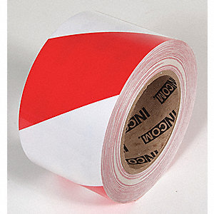 FLOOR TAPE,RED/WHITE,100FT L X 4IN W