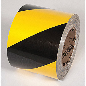 FLOOR TAPE,YELLOW/BLACK,100FT L X 4IN W