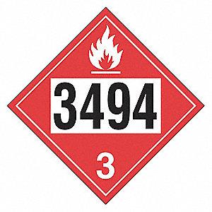 PLACARD,BLK/WHITE/RED,3496 3,VINYL,PK12