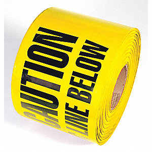 TAPE,YELLOW,1000FT L X 6IN W,OIL LINE
