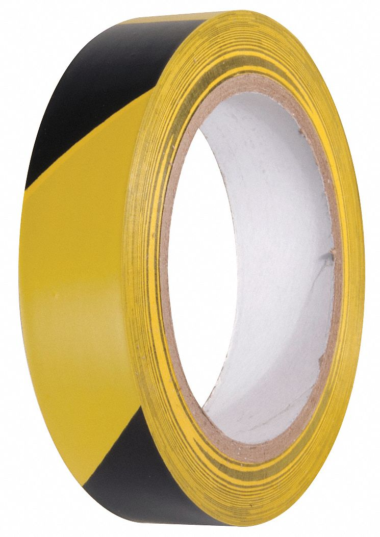 Marking Tape, Striped, Continuous Roll, 1 in Width, 1 EA