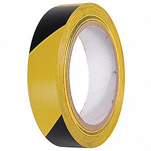 TAPE,YELLOW/BLACK,108FT L X 1IN W,PVC