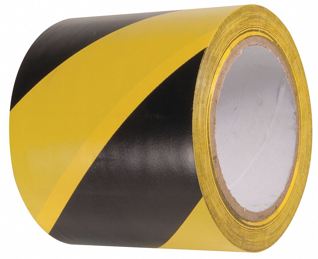 Marking Tape, Striped, Continuous Roll, 4 in Width, 1 EA