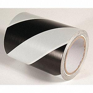 FLOOR TAPE,BLACK/WHITE,108FT L X 6IN W