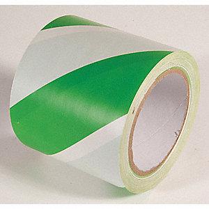 FLOOR TAPE,GREEN/WHITE,108FT L X 3IN W