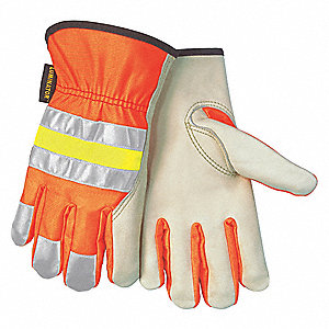 GLOVE,COTTON/POLYESTER,ORANGE/TAN,M
