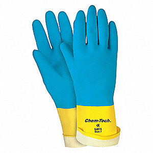 GLOVE,BLUE/YELLOW,L 12IN,LATEX,NEOPRENE