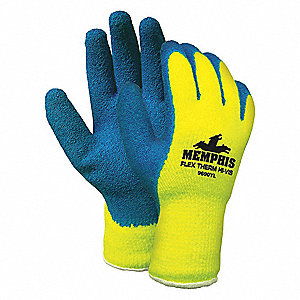 GLOVE,YELLOW/BLUE,KNIT WRIST,M