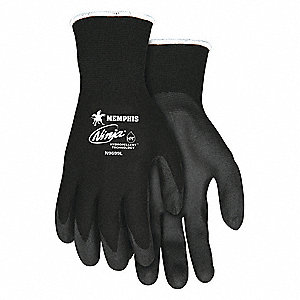 GLOVE,BLACK/BLACK,KNIT WRIST,S