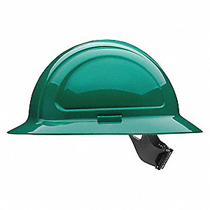 Full Brim Hard Hat, 4 pt. Pinlock Suspension, Green, Hat Size: One Size Fits Most