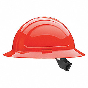 Full Brim Hard Hat, 4 pt. Pinlock Suspension, Hi-Visibility  Red, Hat Size: One Size Fits Most
