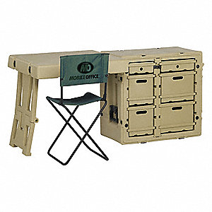 SINGLE FIELD DESK,OD GREEN,POLYETHYLENE