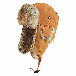 RABBIT FUR DUCK AVIATOR HAT,BROWN,XL