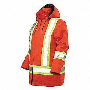 HI-VIS PARKA WITH HOOD,ORANGE,5X-LARGE