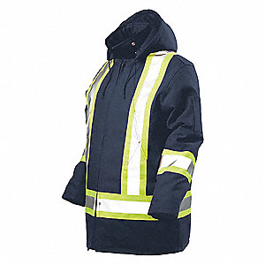 HI-VIS PARKA WITH HOOD,NAVY,4X-LARGE