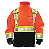 HI-VIS JACKET,MENS,XL,ORANGE,ZIPPER