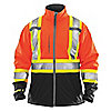 HI-VIS JACKET,MENS,SMALL,ORANGE,ZIPPER
